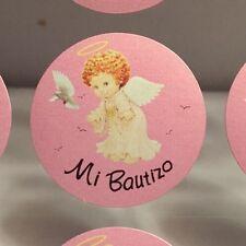 "Mi Bautizo ""Baptism"" Sticker Embellishments For Favors, Invitations Pink 100/pk"