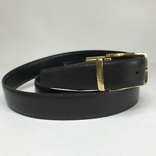 """Gianfranco Ferre Mens Belt Dark Brown Leather Gold Tone Buckle Italy 41-45"""""""
