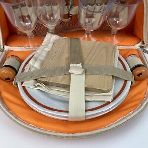 Orange 4 Person Luxury Picnic Set in Insulated Bag Metal Cutlery Wine Glasses