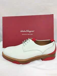 Salvatore Ferragamo NEW Fulgor Trotter White Ivory Lace Up Shoes SZ 8.5 US or 42