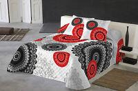 NATURALS Colcha multipunto cama KARMA mandala rojo/negro/blanco/gris // Quilt