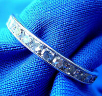 Art Deco Diamond Wedding Band Vintage Antique Platinum Eternity Anniversary ring