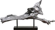 """Fox Sculpture Metallic Silver Black 27"""" Modern Art Contemporary Driftwood New"""