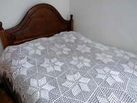 """Vintage crocheted bedspread 82"""" Handmade Coverlet Duvet Cover White Rustic"""