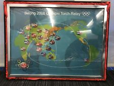 New Coca-Cola Beijing 2008 Olympic Torch Relay Framed Pin Set