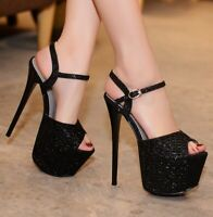 Womens Sexy High Heels Platform Sandals Rhinestone Open Toe Stiletto Pumps Shoes