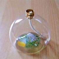Öllampe aus Glas mit Farbgranulat Einschmelzung Berg mit Schnee & Dochtschutz