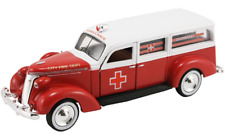 American Heritage 1/43 1937 Studebaker Ambulance - RED / WHITE City Fire Dept