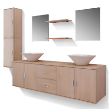 Bathroom Furniture Set Vanity Ceramic Basin Cabinet Mirror Shelf Storage Beige