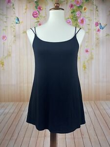 EILEEN FISHER Black Stretch Silk Jersey Scoop Neck Strappy Cami Tank Top Small