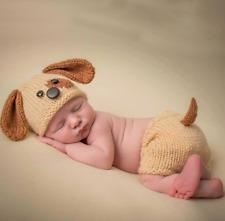 Neugeborene Baby Knit Strick Fotoshooting Hund Dog Kostüm Mütze Höschen