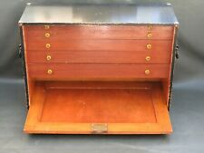 Vintage wooden pattern makers tool chest box with 5 graduated drawers