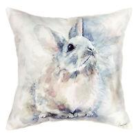 "Watercolor Rabbit Throw Pillow - Indoor/Outdoor Accent Cushion - 18"" x 18"""