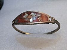 """Abalone, 6.25"""", Hinged, Alpaca Silver Vintage Mexican Inlaid Floral Bracelet,"""
