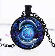 Dolphins And Earth Photo Cabochon Glass Black Chain Pendant Necklace