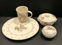 Mikasa TEDDY Dinner Plate Mug Trinket Dish and Covered Sugar Dish Bear Flowers