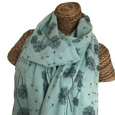 Turquoise Dandelions Scarf Teal Floral Flowers Wrap Dandelion Superb Quality
