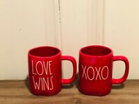 Rae Dunn Valentine's Day By Magenta LL LOVE WINS, XOXO Red Mug, Set of 2 HTF