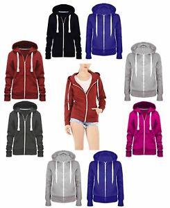 Women Hoddie Plain Zip Up Hooded Top Ladies Basic Hoody Sweatshirt Jacket 8-28