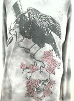 Rare Used AFFLICTION Distressed Thermal Black Bird Roses Shirt Gray Large L USA