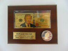 """""""POTUS"""" Cutom Made Plaque W/ Gold Plated $1000 Bill and Colorized Half Dollar"""