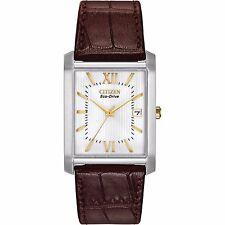Citizen Eco-Drive Men's BM6789-02A Rectangle Case Brown Leather Strap Watch