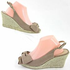 Talbots Peep Toe Slingback Jute Wedge Sandals Tan Canvas Sz 10