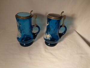 PAIR OF MARY GREGORY HP BOY & GIRL COBALT BLUE THUMBPRINT OPTIC .5 L BEER STEINS