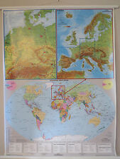 PULL ROLL DOWN SCHOOL WALL MAP OF THE WORLD EUROPE & GERMANY 3 MAPS IN 1