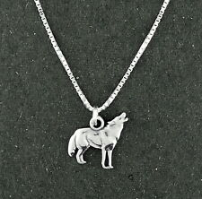 """Howling At Moon Wolf Pendant Necklace Sterling Silver 18"""" Box Chain Animal"""