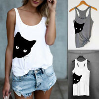 Fashion Women's Cat Print Tank Top Blouse Sleeveless O Neck T-Shirt Top US