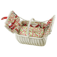 Schöner Picknickkorb für 2 Personen - weiß lackierte Vollweide mit viel Zubehör