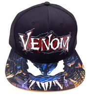 MARVEL COMICS VENOM 3D TEXT RUBBER LOGO BLACK SUBLIMATED BILL SNAPBACK HAT CAP