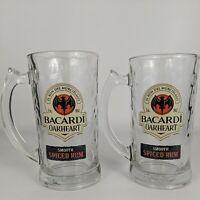 Bacardi Oakheart Smooth Spiced Rum 12 oz Glass Mug-Set of 2