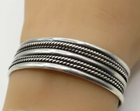 MEXICO 925 Sterling Silver - Vintage Thick Rope Detail Cuff Bracelet - B2200