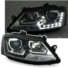 2 PHARES DEVIL EYES VW JETTA 4 APRES 4/2010 NOIR FEUX JOUR LED LEDS