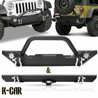 Front & Rear Bumper W/Led Fog Light + D-Ring Hitch For 87-06 Jeep Wrangler YJ TJ
