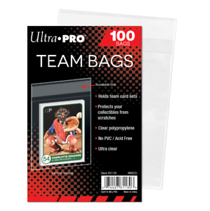(100 / 1 Pack ) Ultra Pro Team Bags Resealable Strip Card Storage Team Set Bags