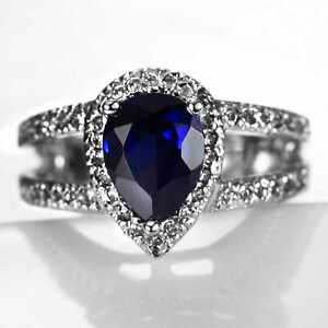 CNL109 Handmade 3.90CT Natural Sapphire 14K White Gold Ring Size US7