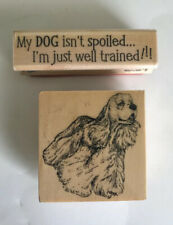 american cocker spaniel my dog isn't spoiled. wooden rubber mounted stamp