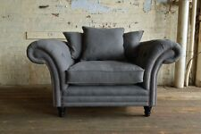 MODERN HANDMADE SLATE GREY WOOL CHESTERFIELD SCATTER BACK SNUGGLE CHAIR