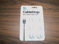 6 PACK White BlueLounge CableDrop Cable Drop Clips Wire Holder for USB & Charger