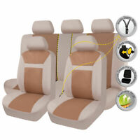 9PCS Car Seat Covers Set Universal Beige Polyester Jacquard Protectors Washable