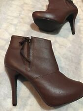 Platform heel booties brown Dots brand women's size 10