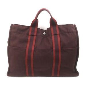 Hermes Tote Bag Fourre Tout MM Bordeaux Canvas 2407996