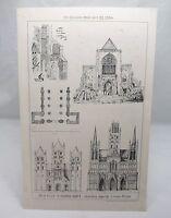 WEST FRONT ST.ALBAN'S ABBEY HERTFORDSHIRE Antique Victorian  Architecture 1880*