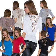 Feine 3/4 Arm Damen-Pullover ohne Muster
