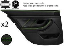 Green Stitch Arrière 2X complet porte carte en cuir couvre Fits BMW 5 Series E39 95-03