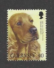Dog Art Head Portrait Postage Stamp Red ENGLISH COCKER SPANIEL Guernsey 2001 MNH