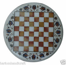 "16"" White Marble Round Chess Coffee Corner Table Top Rare Mosaic Decor Arts H860"